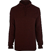 Dark red textured yoke jumper