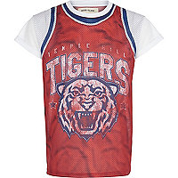 Red Tigers mesh print t-shirt