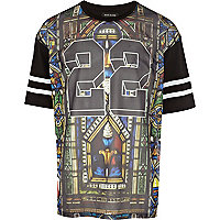 Black mesh stained glass print t-shirt