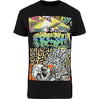 Black fresh sliced print t-shirt