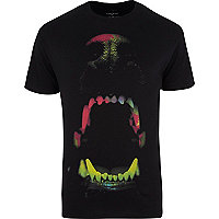 Black fluro dog bite print t-shirt