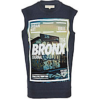 Dark blue Bronx print sleeveless sweatshirt