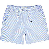 Light blue stripe short swim shorts
