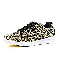 Brown leopard print Oill chunky sole trainers