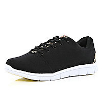 Black Oill animal print tongue trainers