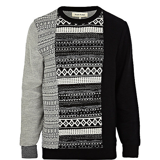 Black fair isle colour block jumper