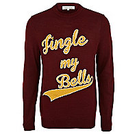 Dark red jingle my bells jumper