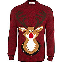 Red squeak nose Reindeer jumper