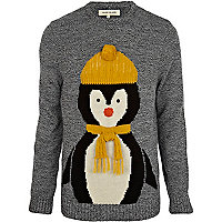 Grey penguin 3D scarf jumper