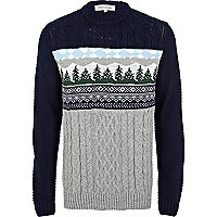 Grey Christmas tree jumper