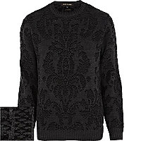 Black baroque chunky knit jumper
