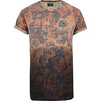 Orange Holloway Road neppy floral t-shirt