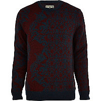 Dark red Holloway Road intarsia jumper