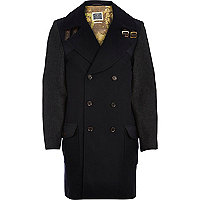 Navy Holloway Road contrast sleeve coat