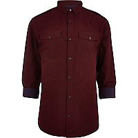 Dark red stripe turn up shirt