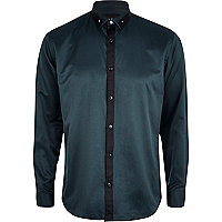 Green ball collar pin contrast trim shirt