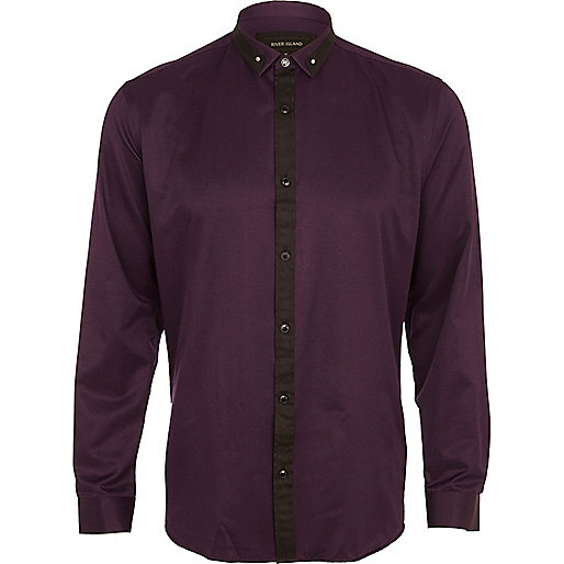 Purple contrast collar shirt