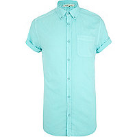 Aqua short sleeve Oxford shirt