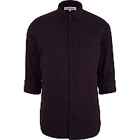 Purple roll sleeve Oxford shirt