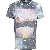 White cosmic road print t-shirt