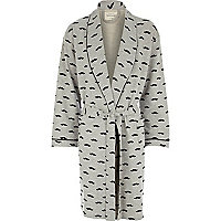 Grey moustache print dressing gown