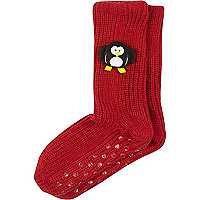 Red 3D penguin slipper socks