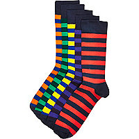Multicoloured stripe ankle socks pack