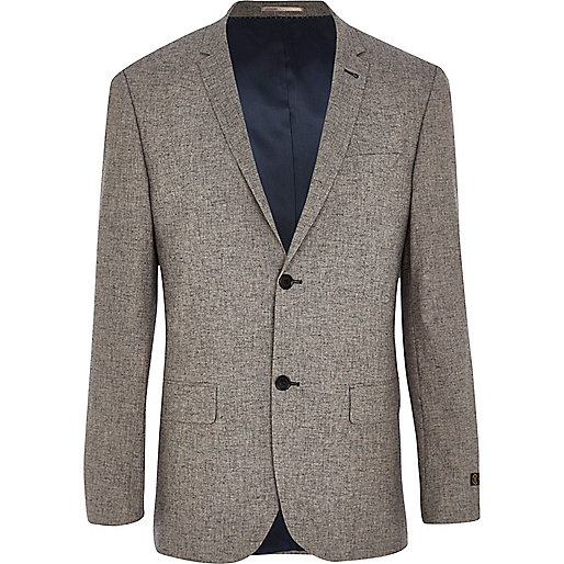 Grey linen-blend slim suit jacket