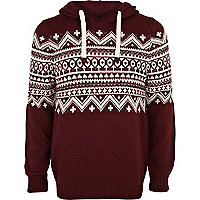 Red fair isle panel hooded jumper