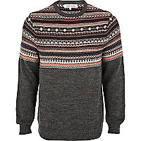 Grey fair isle yoke jumper