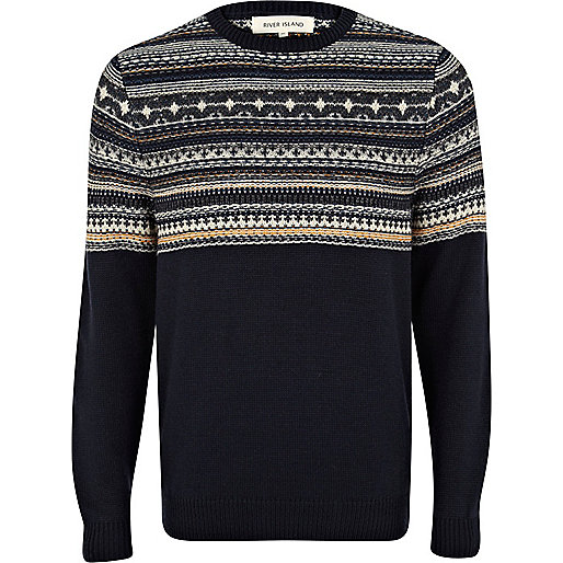 Navy fair isle yoke jumper