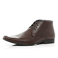 Brown lace up formal boots