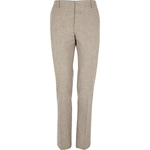 Oat brown tweed skinny suit trousers