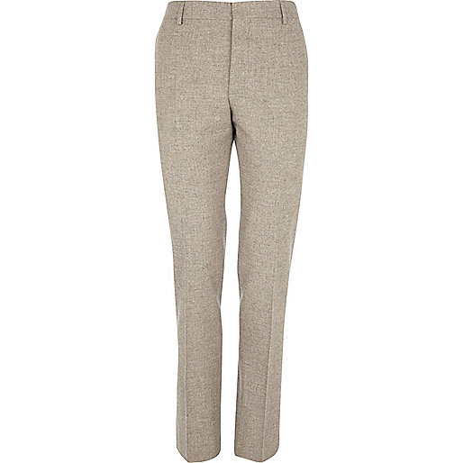 Oat brown skinny suit trousers