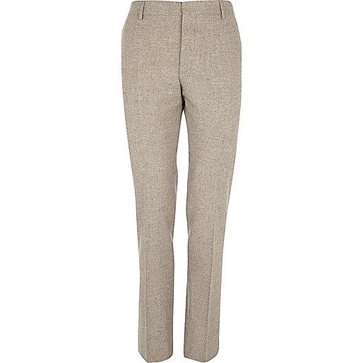 Oat brown tweed skinny suit pants