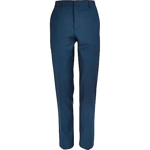 Teal skinny suit trousers