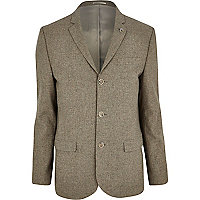 Oat brown tweed skinny suit jacket