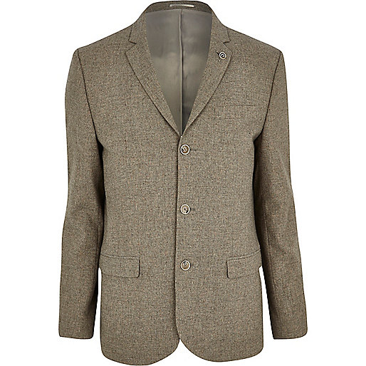 Oat brown skinny suit jacket