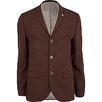 Dark red tweed wool-blend skinny suit jacket