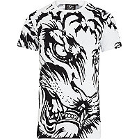White Rum Knuckles tiger face print t-shirt
