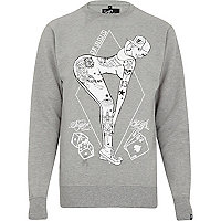 Grey Rum Knuckles tattoo girl print sweat