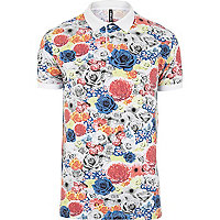 White New Love Club floral polo shirt