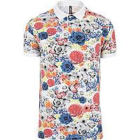 White New Love Club floral polo shirt