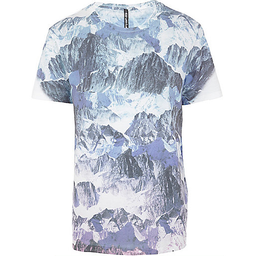 Blue New Love Club mountain print t-shirt
