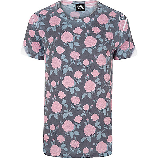 Navy New Love Club rose print t-shirt