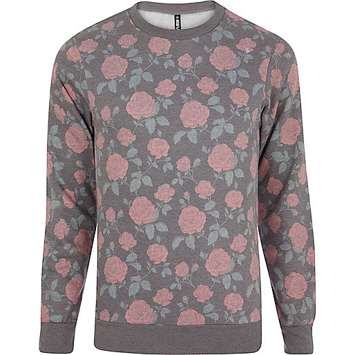 Navy New Love Club rose print sweatshirt