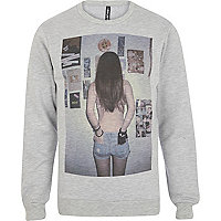Grey New Love Club back shot print sweatshirt