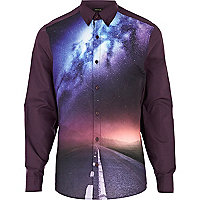 Purple cosmic runway print shirt