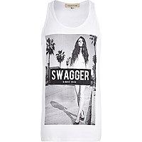 White swagger girl print vest