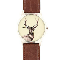 Brown stag print watch